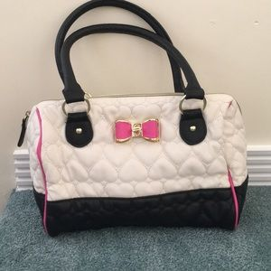 Betsey Johnson black and white handbag